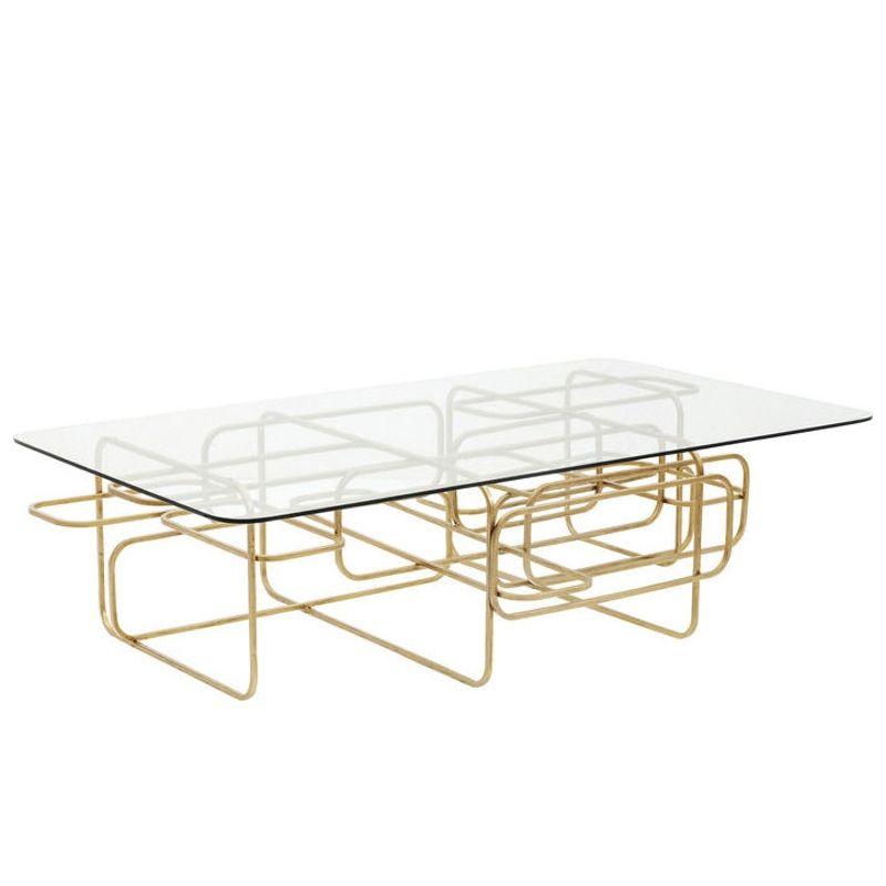 Soffbord | glasbord Linate mässing