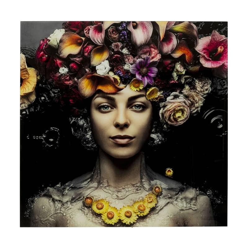 Glastavla Blomstergudinna 120x120 cm