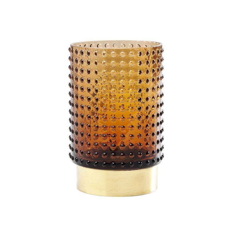 Glasvas Bärnstensbrun. Höjd 13,5 x diameter 9 cm.