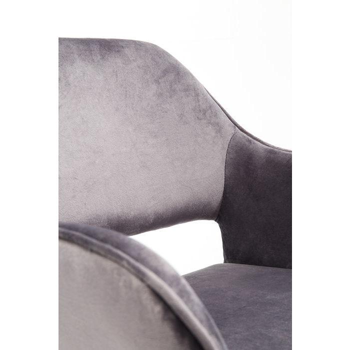 Elegant grå matstol med bekvämt rygg- och armstöd