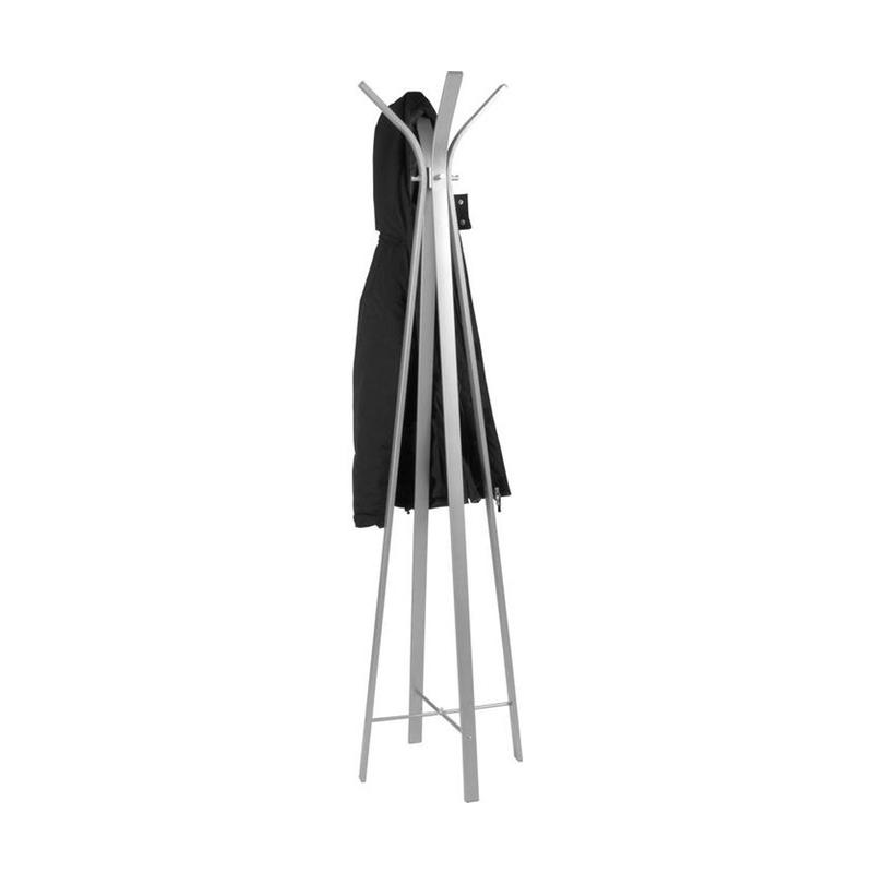 En klädhängare i ren, modern design av pulverlackat rostfritt stål.
