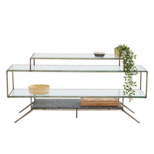 Hylla/bord i glas och betong i fyra plan med ram i borstad mässing. Mått: höjd 72 x bredd 153 x djup 40,5 cm