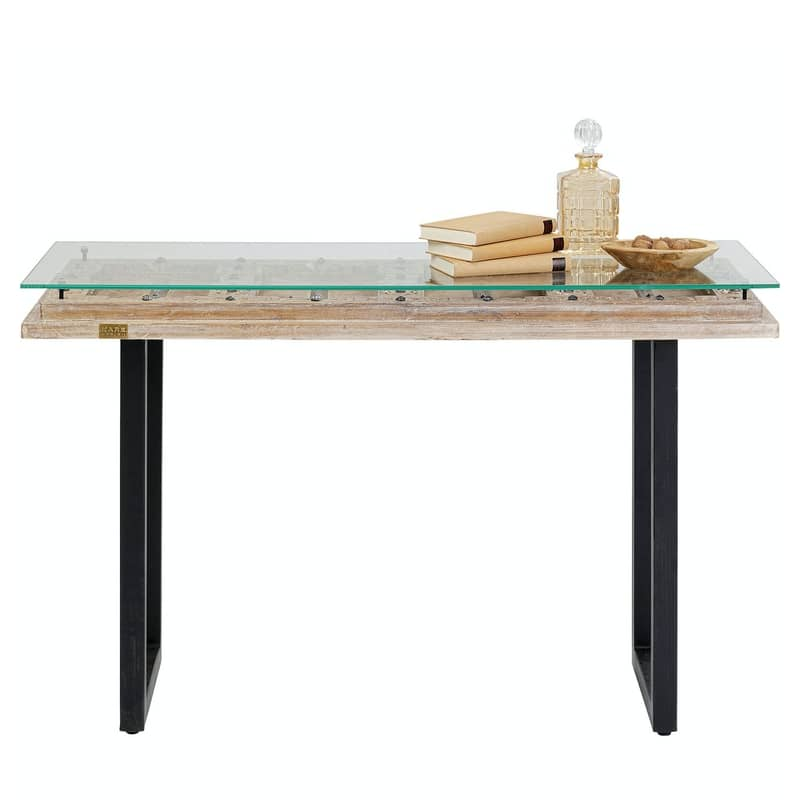 Ett vackert konsolbord i trä och svart stål