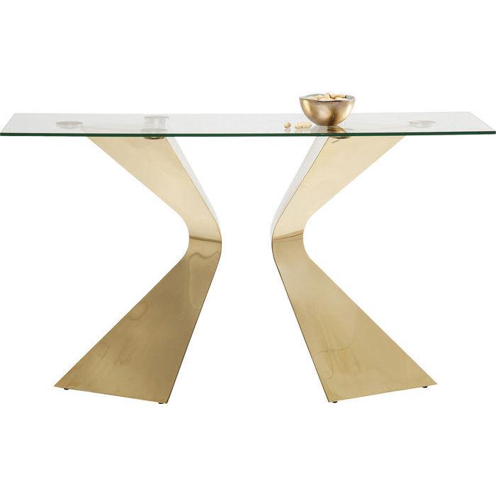Ett elegant konsolbord med glasskiva och underrede i spännande design