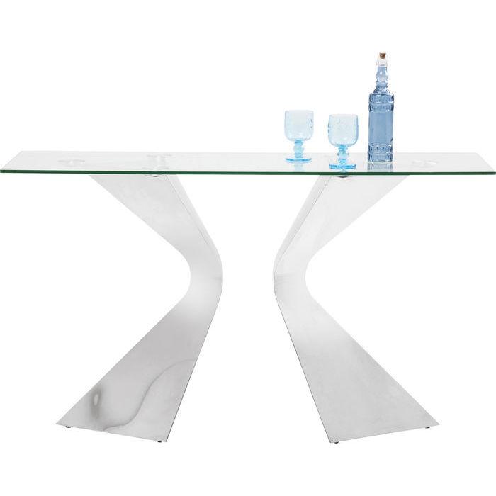 Konsolbord i glas och silver