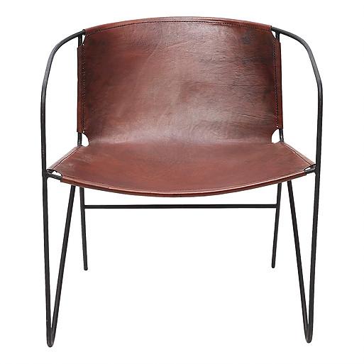 Brun läderfåtölj i stilren design - Wohnzimmer.se