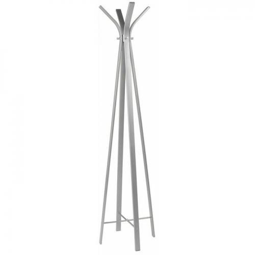En högblank vit klädmajor i minimalistisk design av rostfritt stål.