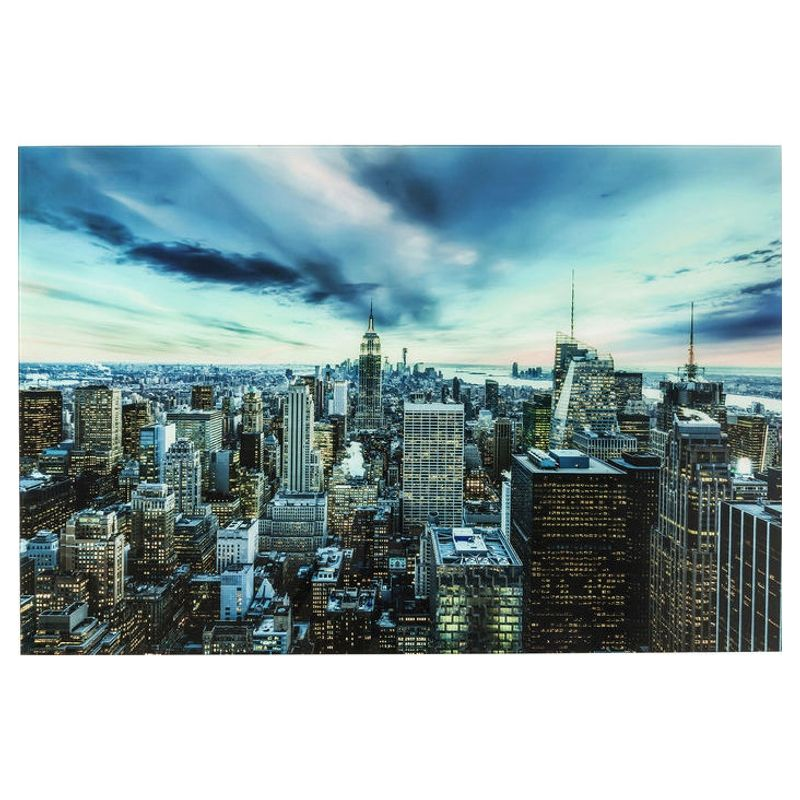Glastavla New York sunset 120x80