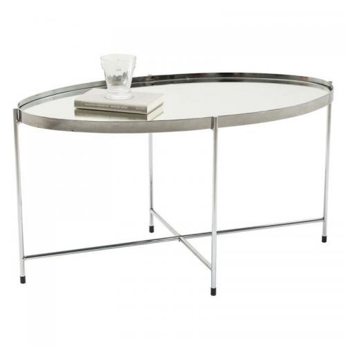 Soffbord Oval Spegel Silver
