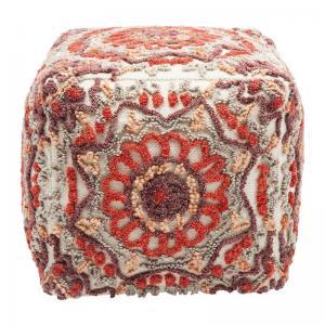 En vacker puff i handtuftad ull och bomull med orientaliskt mönster i varma färger