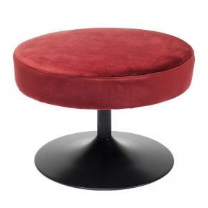 En röd rund sittpall i retro design med underrede i trumpetfot.