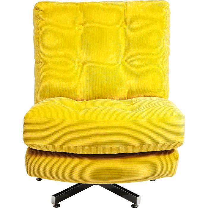 Snygg retro snurrfåtölj i klar gul manchester.
