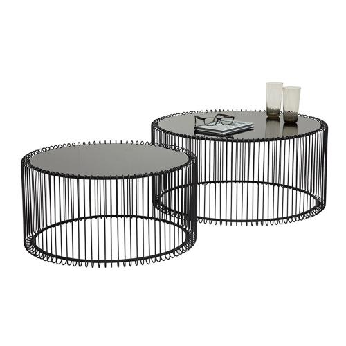 Soffbord Wire svart - 2 set
