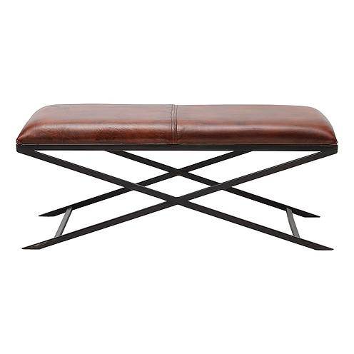 Snygg sittbänk i brunt läder med svart underrede - Wohnzimmer