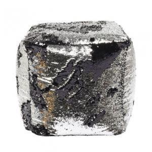 Sittpuff Paljett silvergrå
