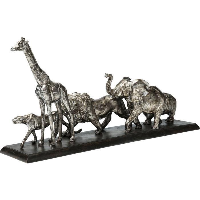 En skulptur med savannens djur på vandring - fin patina.