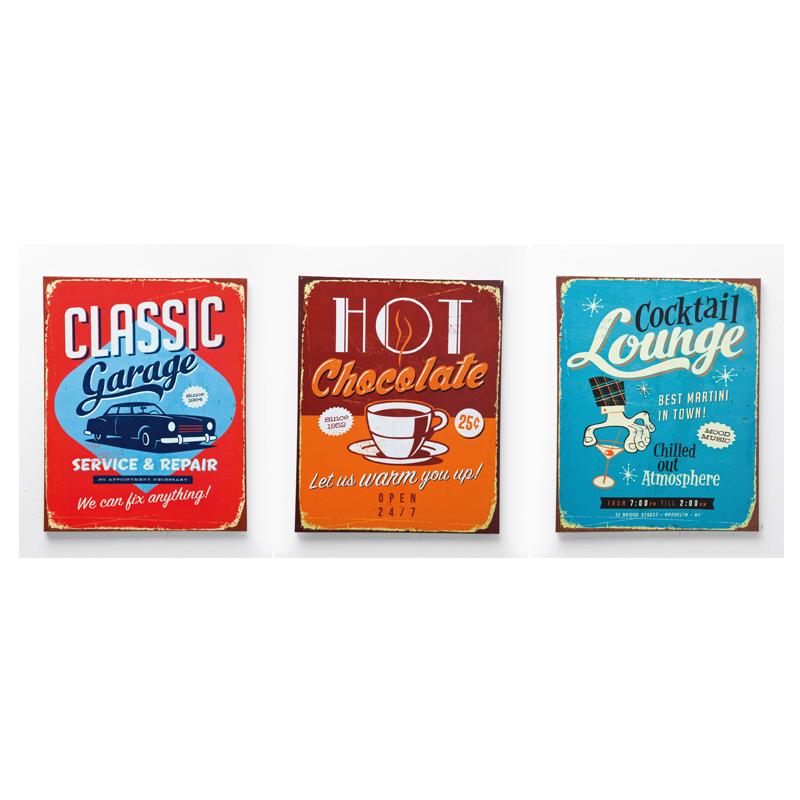Skylt   tavla Diners Vintage 3-set