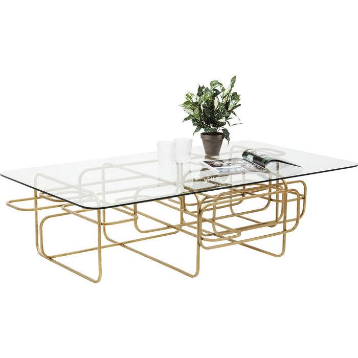 Soffbord glasbord Linate mässing