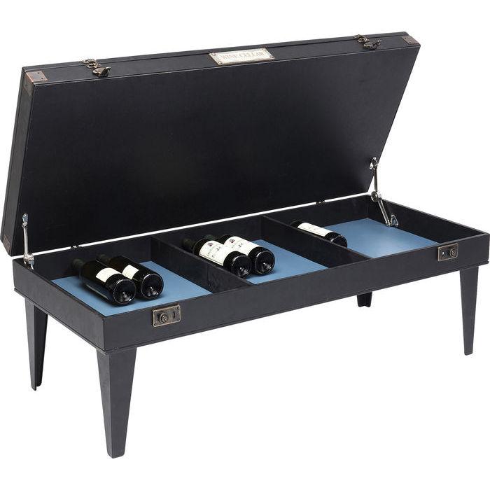 Ett rustikt svart soffbord med dold förvaring, exempelvis som barbord