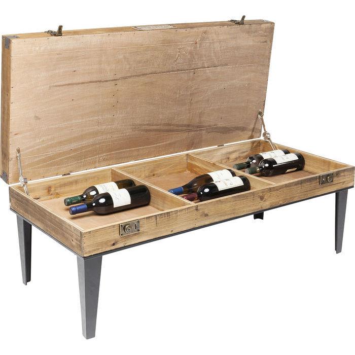 Unikt soffbord med dold förvaring, exempelvis för vinflaskor m.m.