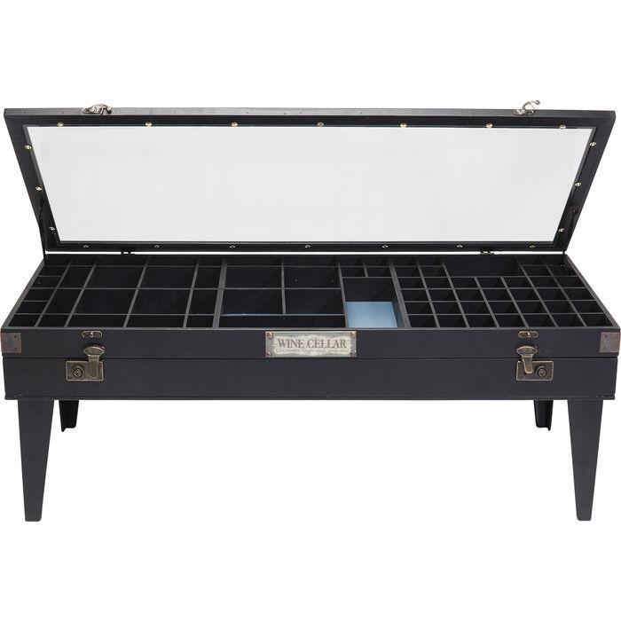 Ett annorlunda svart soffbord där du kan visa upp dina små samlarobjekt.
