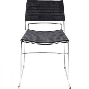 En stilren svart matstol eller mötesstol med underrede i krom och sits i svart tyg