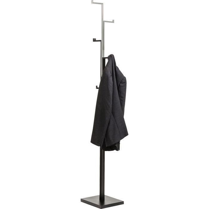 Klädhängare tamburmajor i svart pulverlackat stål och högblank krom med 6 hängare.