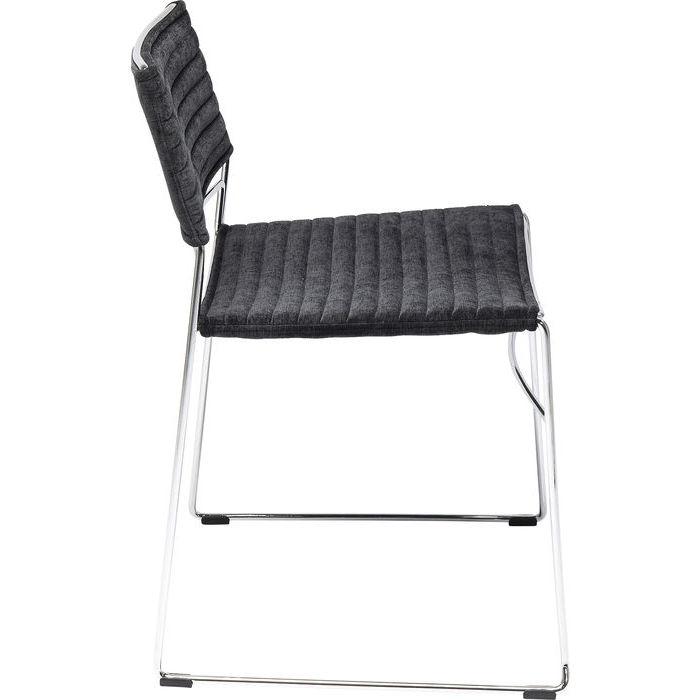 Modern stol i stram design - krom och svart