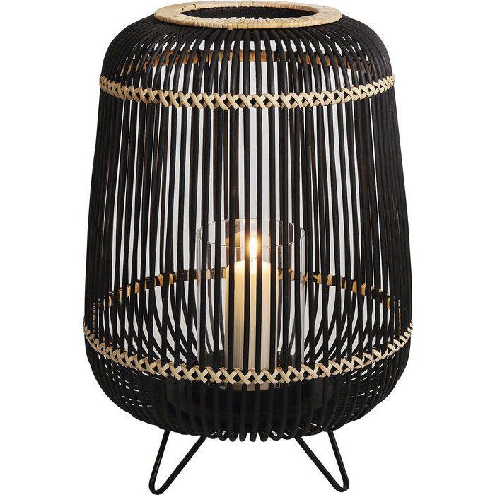 En stor lykta i svart och naturfärgad bambu - för stora blockljus