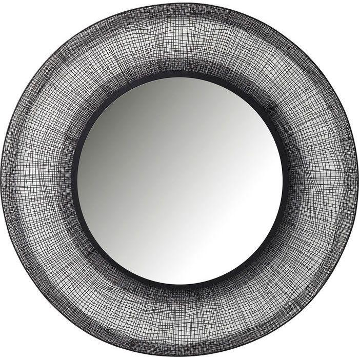 Stor Spegel med ram av svart nätstruktur. Mått: Diameter 100 cm x djup 1,7 cm.