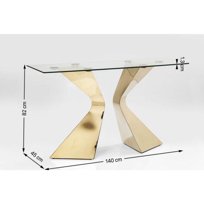 Ett exklusivt glaskonsolbord med underrede i mässingsfinish