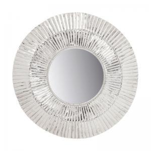 En dekorativ stor rund spegel med ram i silver.