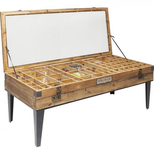 Ett spännande soffbord i trä med glasskiva som exponerar små fack för samlarobjekt