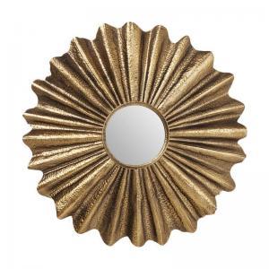 En magnifik rund spegel i skiftningar av guld och brons.