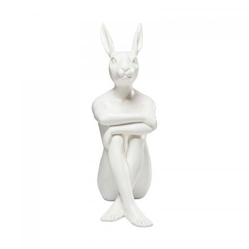 Dekorfigur Skulptur Gangster Rabbit, Vit