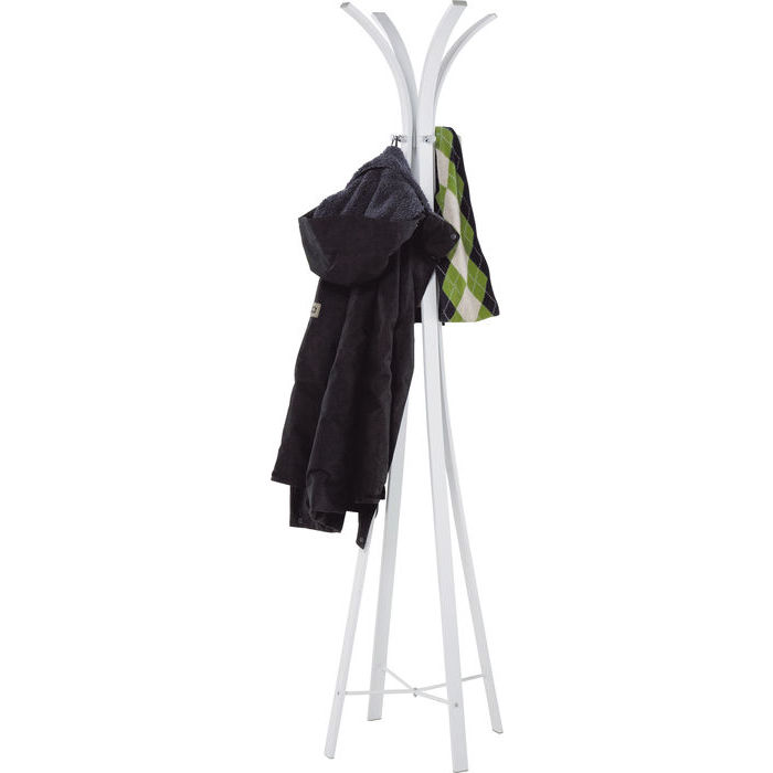 En vit klädmajor i stram design, av pulverlackat rostfritt stål.