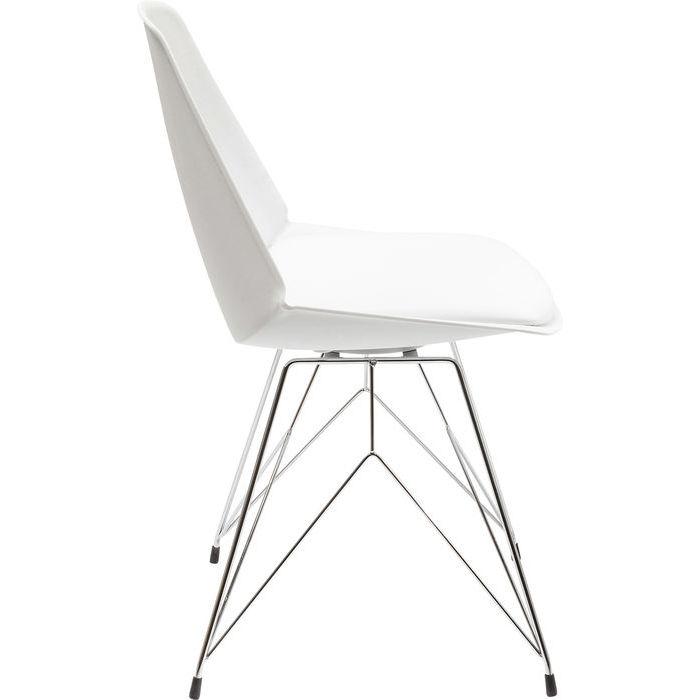Modern matstol med sits i vitt och underrede i krom