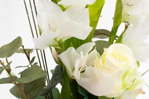 Blombukett Vit Gladiolus, konstväxt