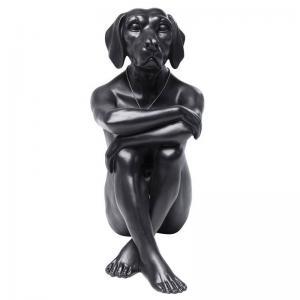 Dekorfigur Skulptur Gangster Dog, Svart