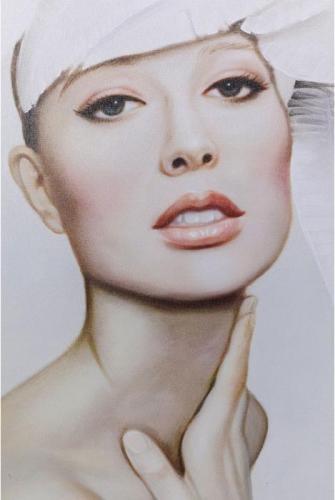 Tavla Vit Ros 120x80 cm
