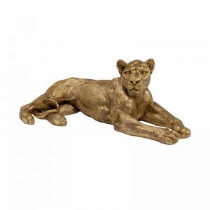 Skulptur Lejon Guld, 113 cm