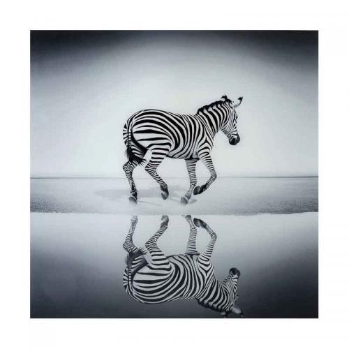 Glastavla Zebra, 120x120 cm