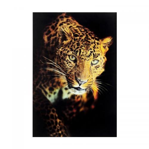 Glastavla Leopard, 120x80 cm