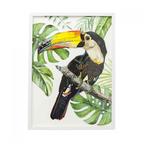 Tavla Paradisfågel, papperskollage