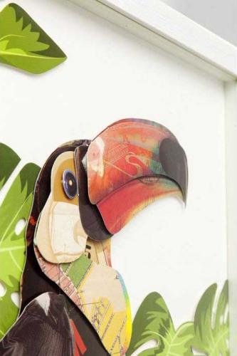Tavla Paradisfåglar, papperskollage