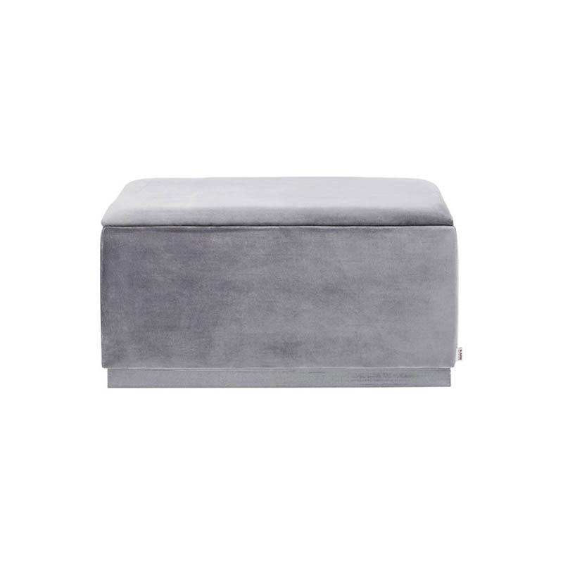 En smart och snygg förvaringsbänk i grå sammet