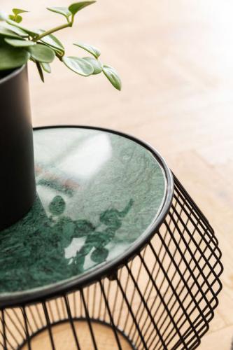 Sidobord Wire Svart, grön marmor