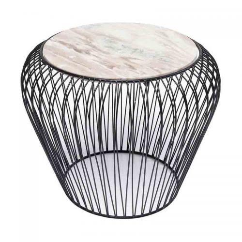 Sidobord Wire Svart, grå marmor
