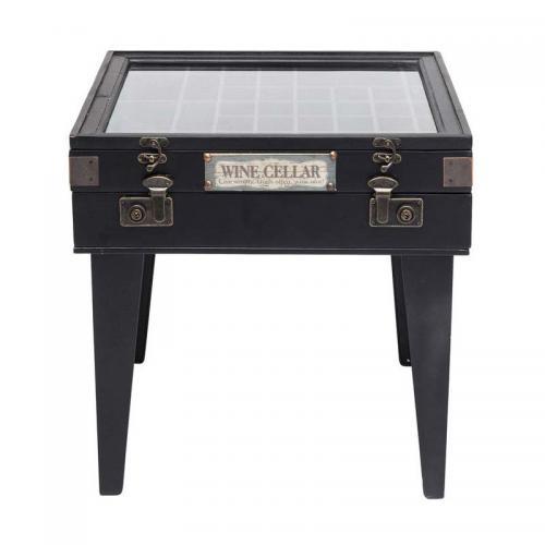 Ett svart sidobord i trä och glas med smart förvaring