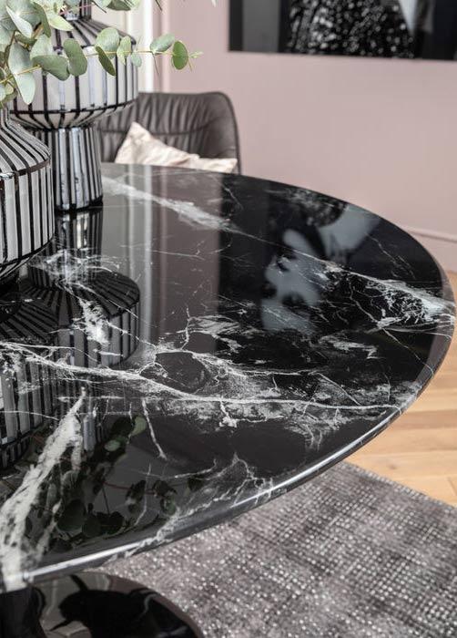 Runt Matbord Svart marmor, 110 cmØ